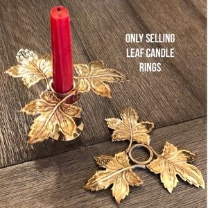 Brass Leave Candle Rings Candle Huggers Fall Decor